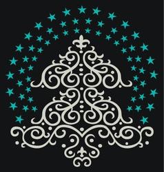 christmas tree star vector image vector image