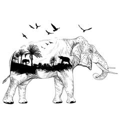 Double exposure elephant vector image vector image