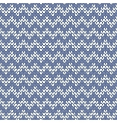 Tile blue and white knitting pattern vector