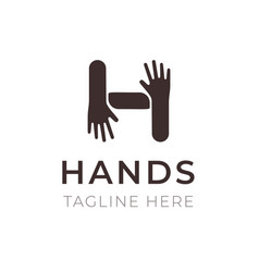 creative h letter logo design hands connection vector image