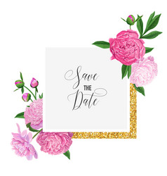 floral wedding invitation template pink peony vector image