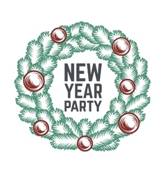 Merry Christmas green wreath design vector image
