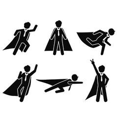 super businessman stick figure pictogram vector image vector image