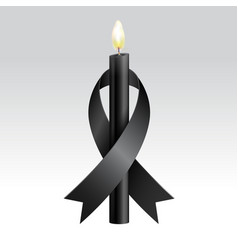 Black ribbon black candles mourning vector