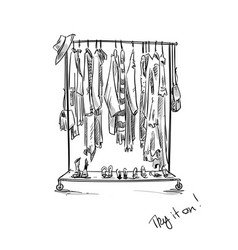 clothes rack vector image vector image