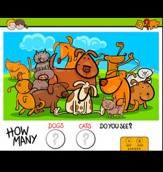 counting cats and dogs educational activity game vector image vector image