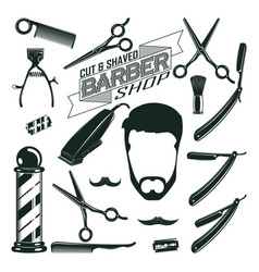 vintage barbershop elements collection vector image