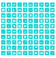 100 hacking icons set grunge blue vector image vector image
