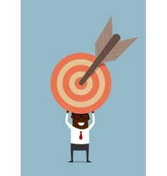 Black businessman with target and arrow vector image