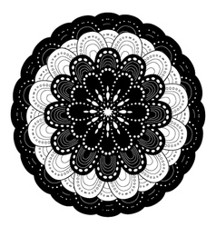 Ornamental round lace pattern black and white vector image