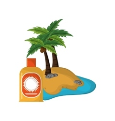 tropical island and sun block icon vector image