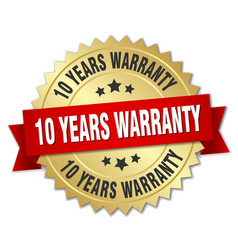 10 years warranty 3d gold badge with red ribbon vector image