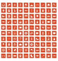 100 europe icons set grunge orange vector image
