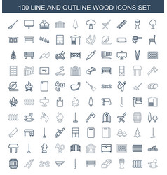 100 wood icons vector