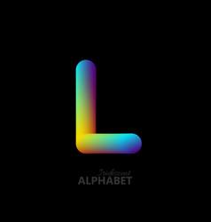 3d iridescent gradient letter l vector