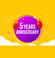 5 anniversary happy birthday first invitation vector image