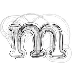 Abstract doodle letter m vector