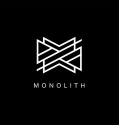 abstract modern logo with geometric white lines vector image