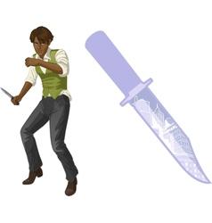 Afroamerican brawling man cartoon character vector