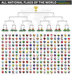 All flags world tournament bracket vector
