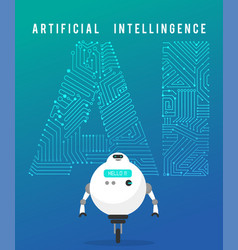 artificial intelligence and smart robot on blue vector image