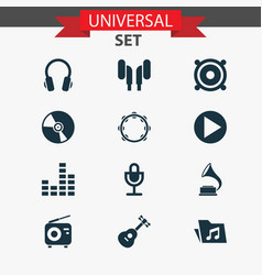 Audio icons set collection mike instrument vector