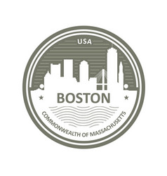 Badge with boston skyline - boston city emblem vector