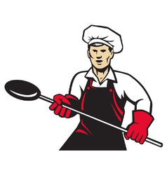 Baker holding baking pan vector