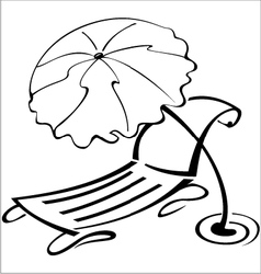 Black and white contour umbrella vector image