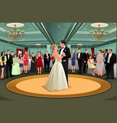 bride groom dancing their first dance vector image