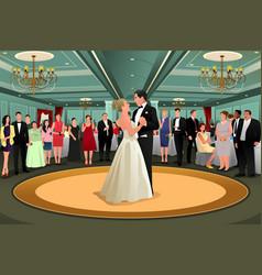 Bride groom dancing their first dance vector
