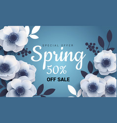 Bright spring sale banner with paper flowers vector