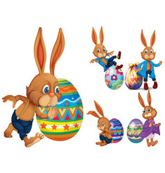 brown rabbits and easter eggs vector image