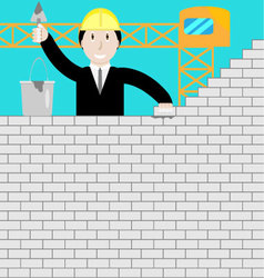 Businessman building a brick wall vector