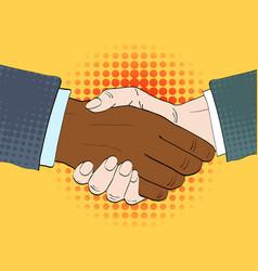 businessmen shake hands in retro vector image