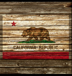 California flag painted on old wood wall vector