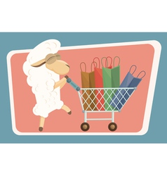 Card with baby lamb and shopping bags vector