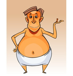 cartoon character big bellied man in shorts vector image