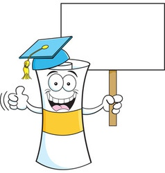 Cartoon diploma holding a sign vector image