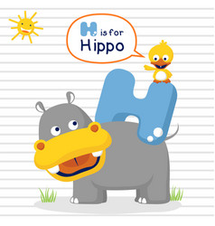 Cartoon of learn with hippo and little duck vector