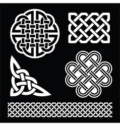 Celtic white knots braids and patterns on black vector
