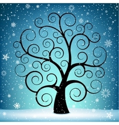 Christmas tree and snow vector image