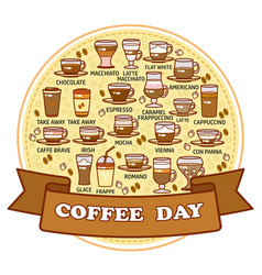 coffee day card set of cute various beverage vector image