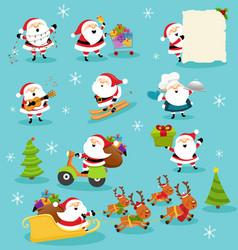 Collection cute santa characters vector