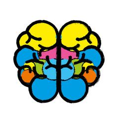 Color mental health smart brain icon vector