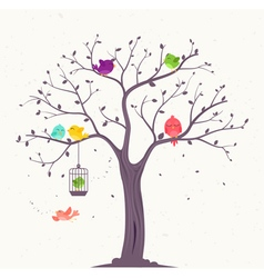 Colorful Birds on branches background vector