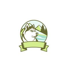 colorful emblem of siberian husky vector image