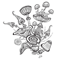 coloring book page for adult with mushrooms vector image