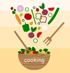 cooking vegetables salad vector image