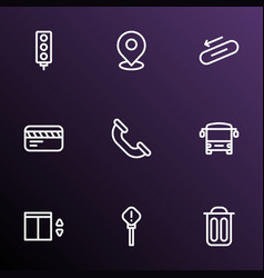 Direction icons line style set with elevator pin vector